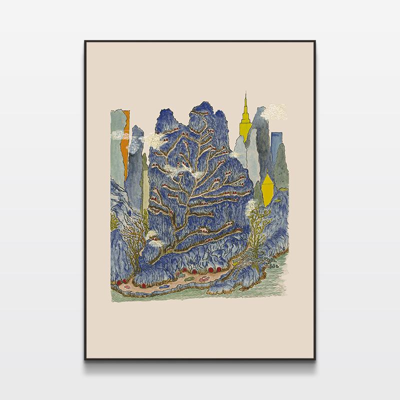 客厅卧室装饰版画手印版画印物所出品「奇景」金宇澄限量版画
