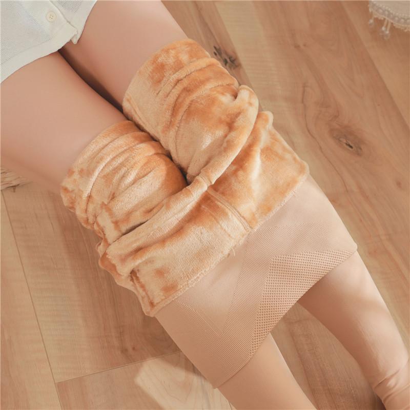 高腰收腹打底褲女外穿一體加厚絨壓力產后塑形大碼連褲襪秋冬