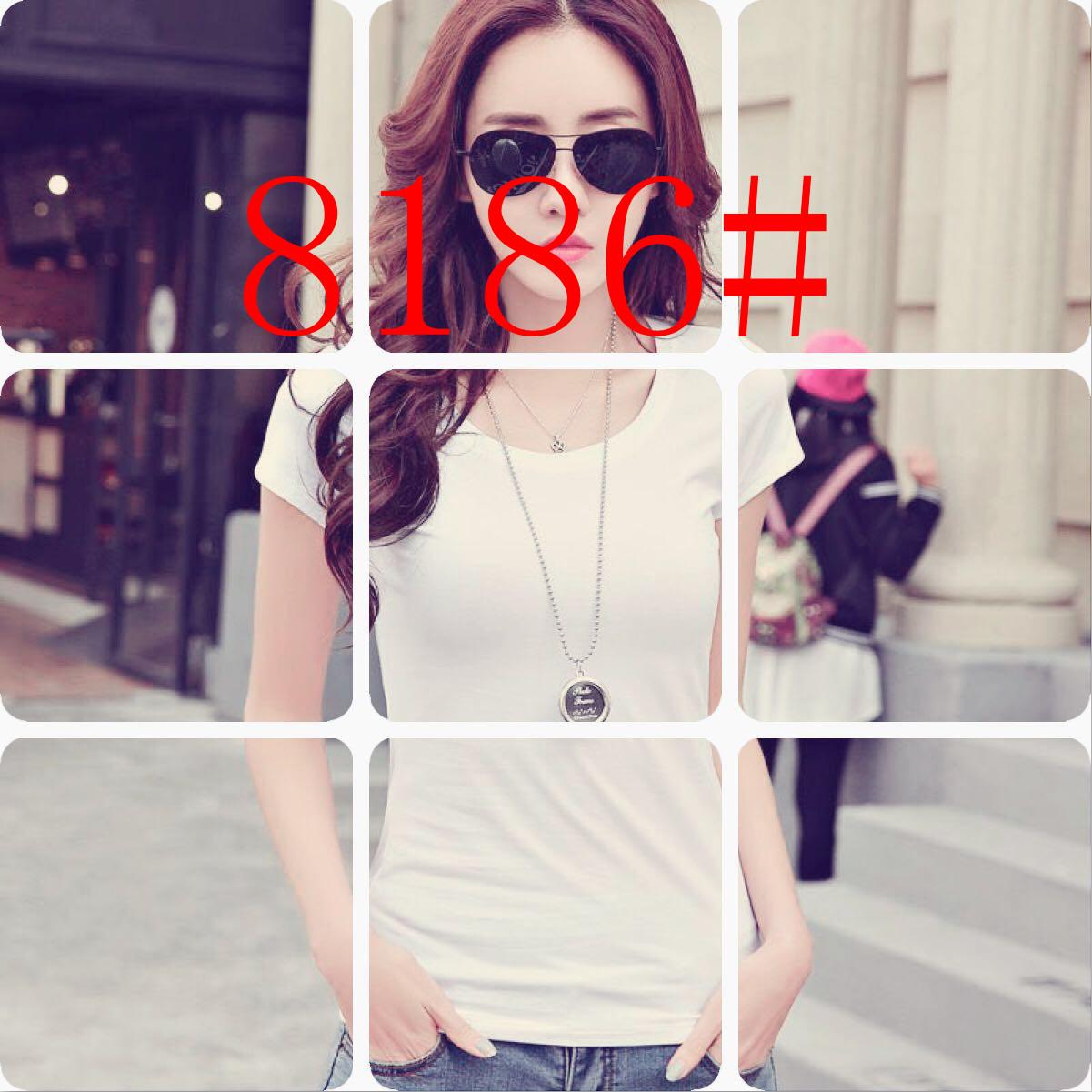 8186#春装女t恤女夏打底衫修身上衣短袖纯白色黑色