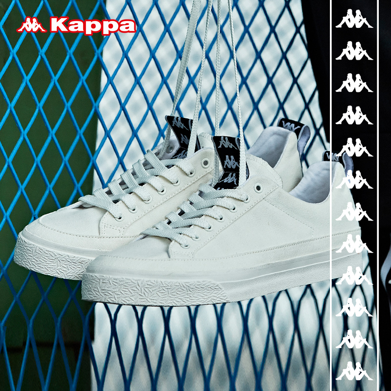 Kappa卡帕BANDA串标情侣男女休闲帆布小白板鞋2019新款 K09W5CC45