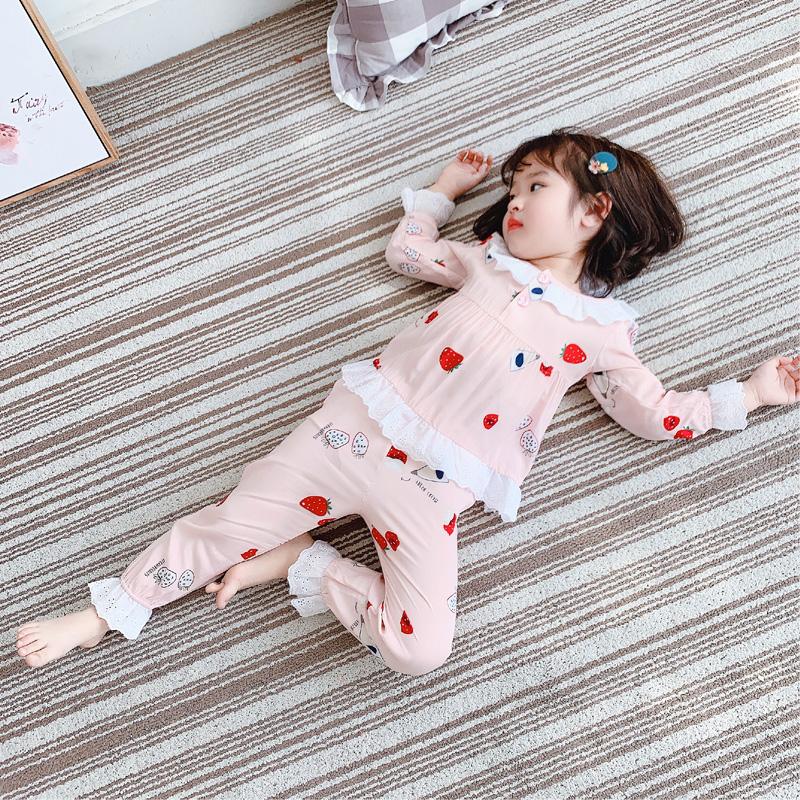 夏季儿童棉绸睡衣女童宝宝长袖小中大童薄款空调服亲子家居服套装