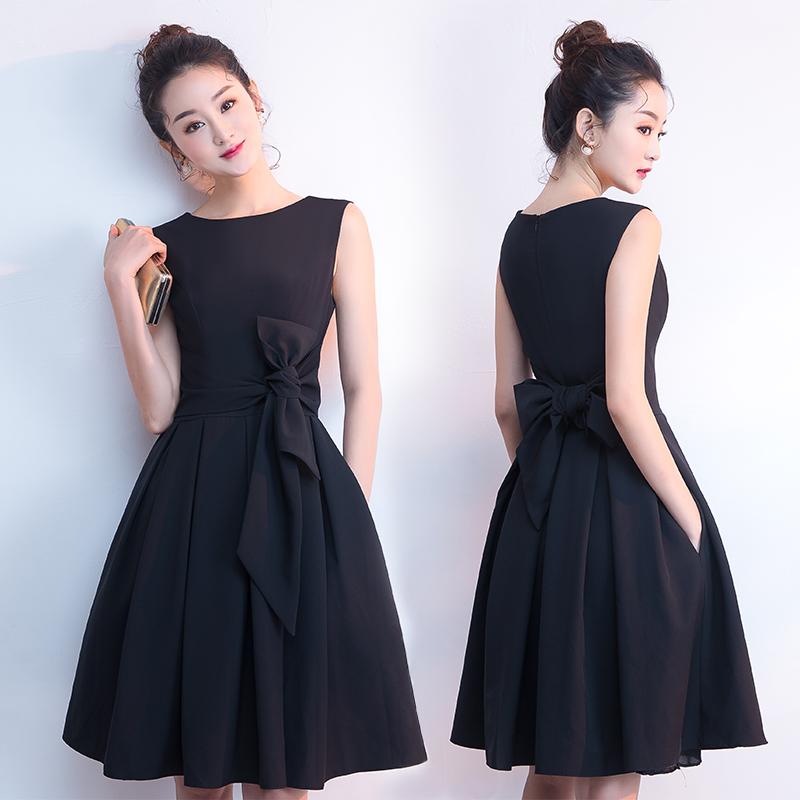黑色小晚礼服女2018新款夏洋装名媛聚会生日派对连衣裙短款成人礼