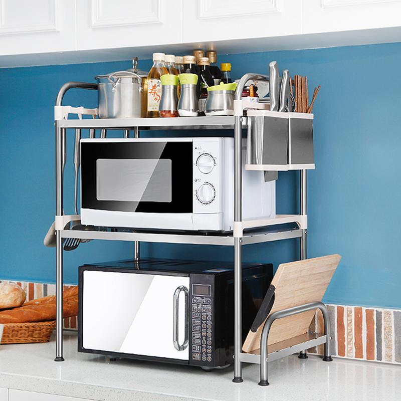 浪漫印记微波炉厨房置物架烤箱调料不锈钢多功能储物台面收纳架子