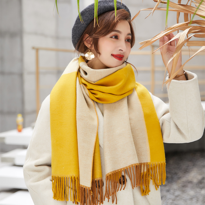 Autumn / winter 2020 air conditioning shawl double face scarf womens British square Plaid color matching thickened imitation cashmere collar