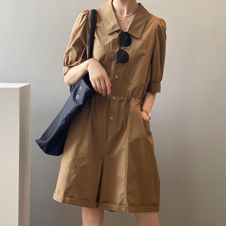 薄款工装连体裤女夏小个子时尚短袖连身裤设计感小众法式连衣短裤