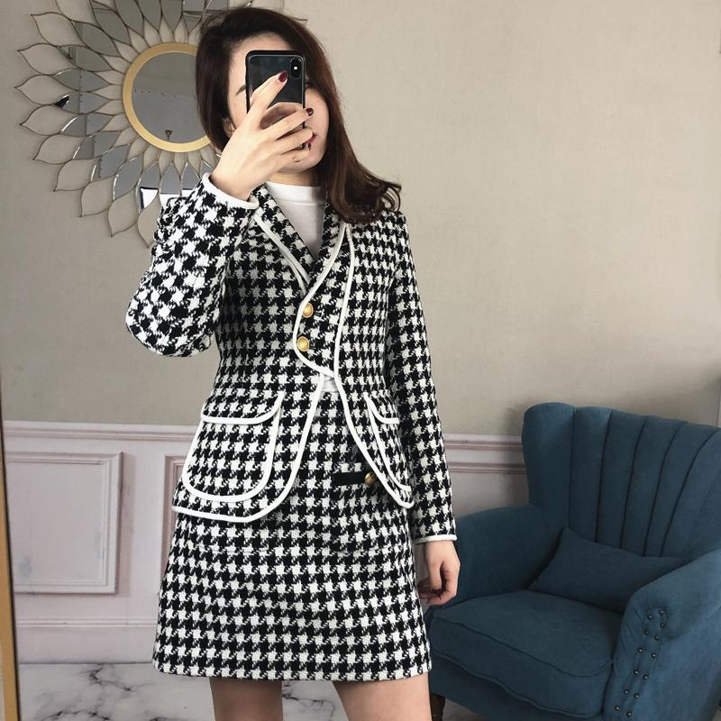 2019女装春新款韩欧时力格口袋黑白千鸟格粗花呢子外套1ZH1344350