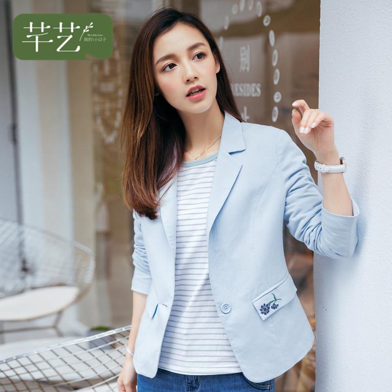 4 небольшой костюм женщина пальто корейский 2017 весна новый тонкий случайный краткое модель малыми пределами крышка тонкий верхняя одежда с длинными рукавами