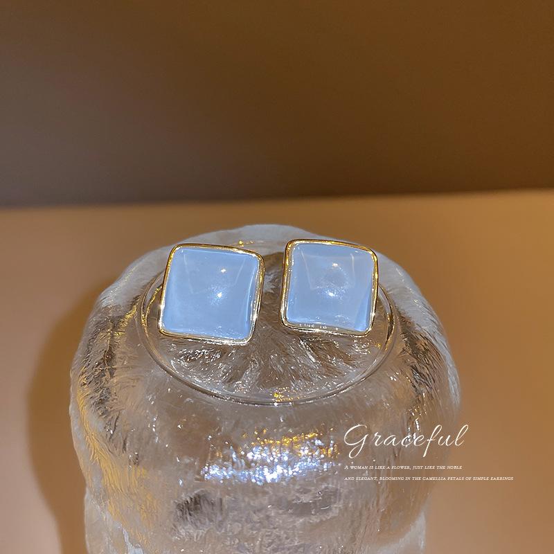 925银针韩国时尚简约个性猫眼石几何方行耳钉耳环气质设计耳饰女
