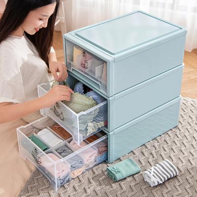 衣柜内衣收纳盒抽屉式家用内裤收纳神器文胸袜子整理箱分格三合一