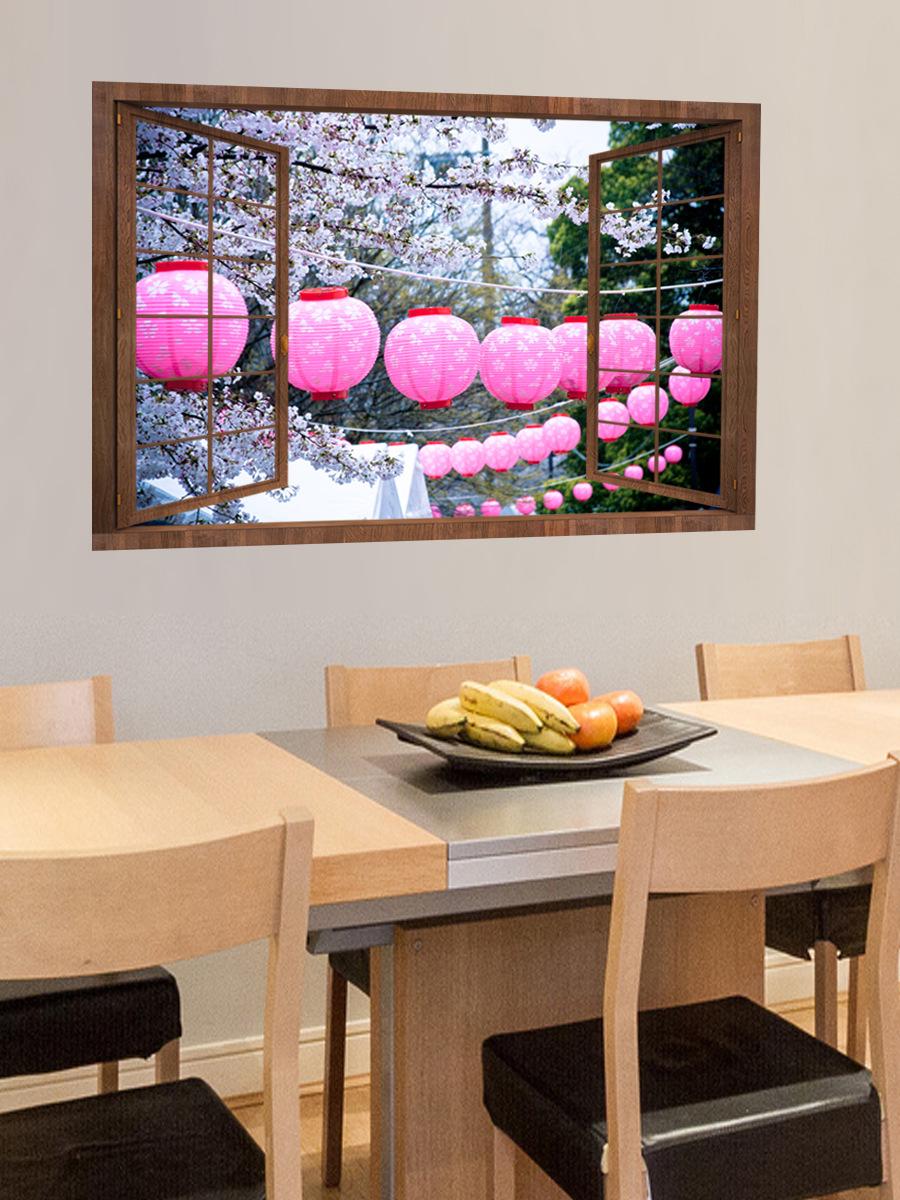 YM1110新年外景假窗户墙贴 客厅卧室3D装饰贴画跨境电商货