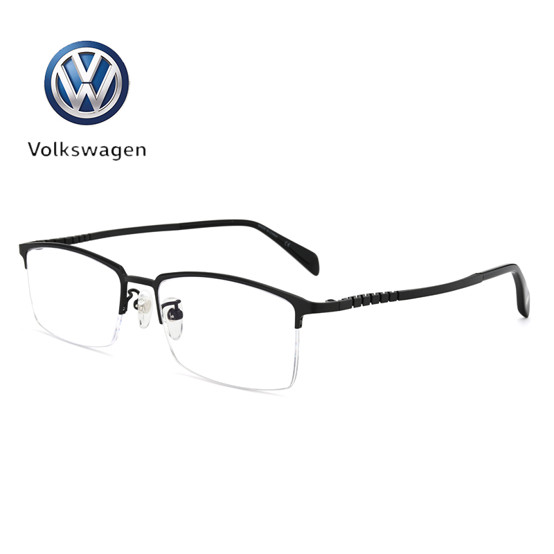 Volkswagens new mens business leisure half frame glasses frame in autumn and winter of 2018 with myopia blue light proof finished product pure titanium ultra light