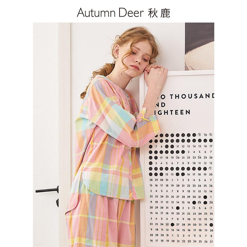秋鹿家居服夏季格子开衫纯棉睡衣11月30日最新优惠