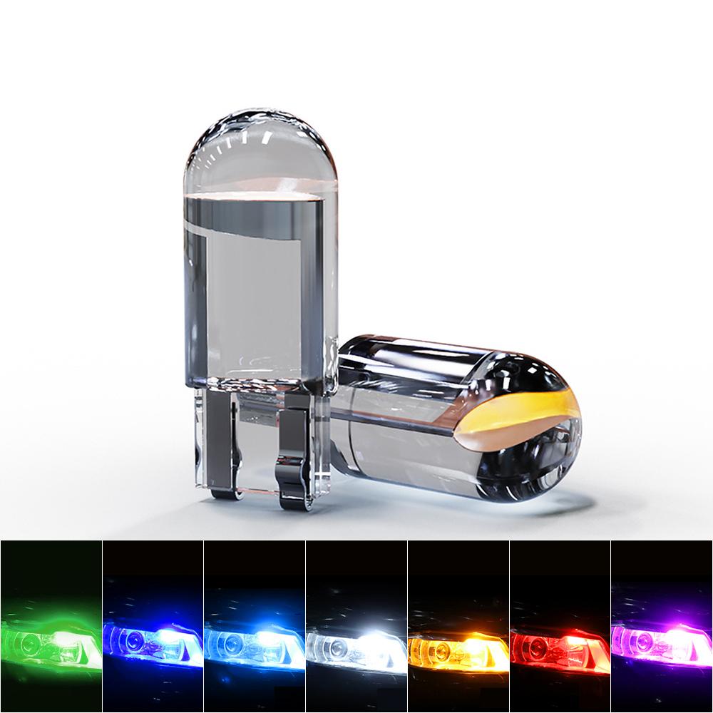 玻璃全透明LED车灯T10示宽灯COB汽车灯泡改装灯LED牌照灯插泡通用