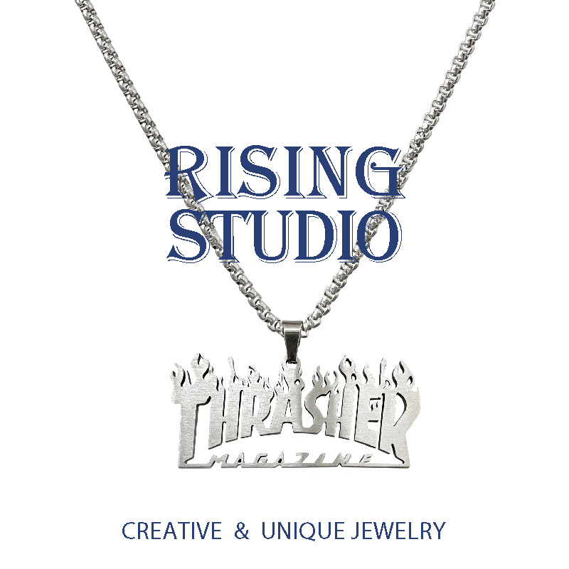 European and American fashion brand thrasher flame Necklace titanium steel hip hop character letter joint name Street Pendant