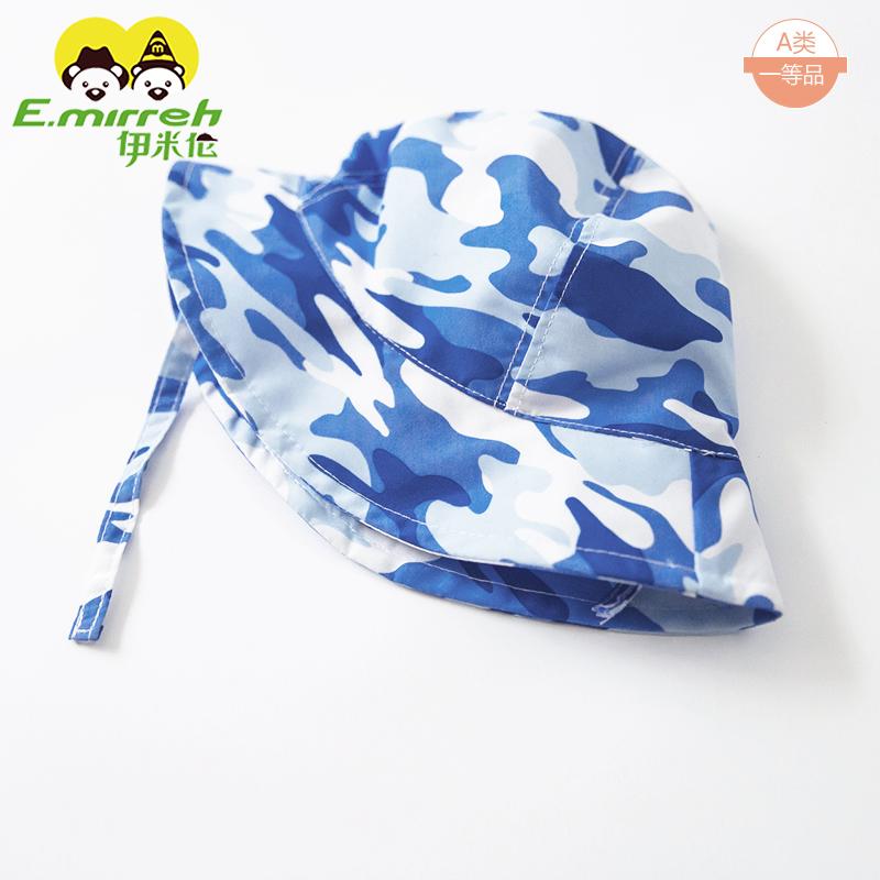 伊米伦宝宝帽子夏季薄款透气男童遮阳帽6-12月婴儿帽子渔夫帽防晒