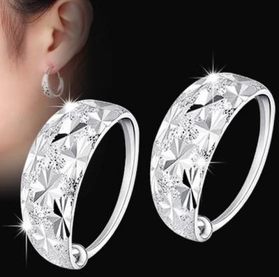 999 Sterling Silver Earrings to prevent allergy for middle-aged and old people