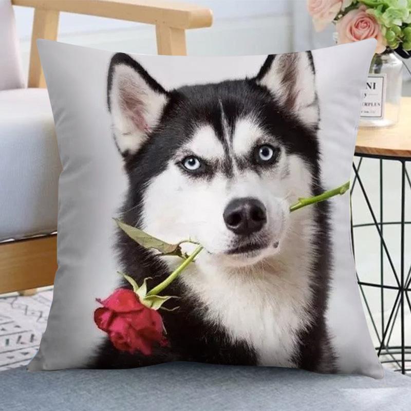 ハスキー抱き枕二哈表情包布団両用の男性用ペット枕の両面写真ソファクッション