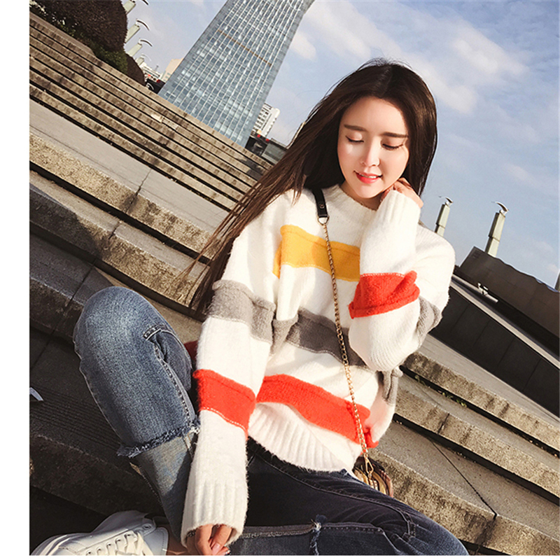 New spring and autumn Rainbow Stripe net red Harajuku sweater womens Pullover loose student woolen long sleeve sweater