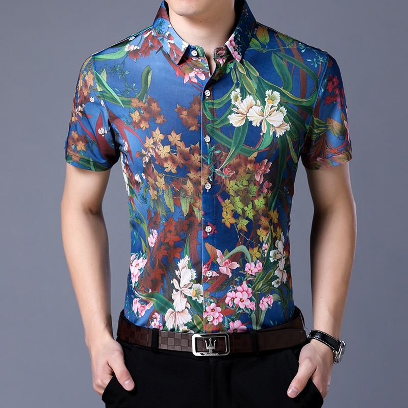 New mens short sleeve flower shirt middle aged half sleeve top ice silk flower bird dragon pattern large size non iron shirt