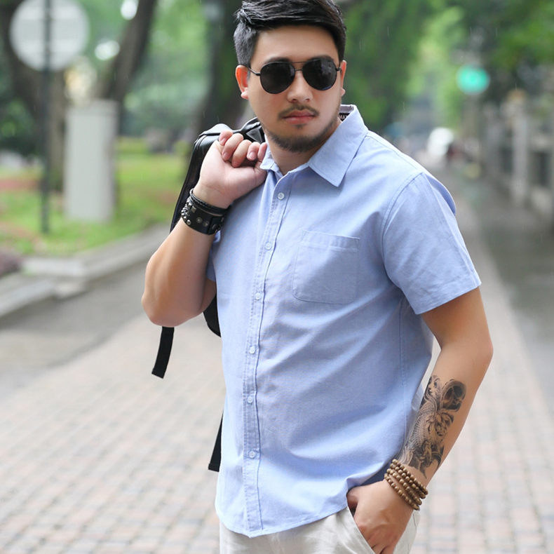 Mens oversize mens short sleeve Oxford spinning shirt for mens fattening and enlarging shirt, fat mans shirt plus large