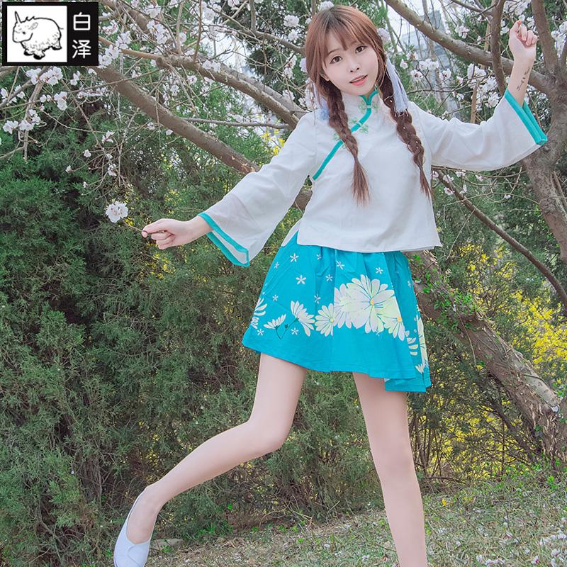 白泽复古文艺女青年民族服装cosplay女装民国风制服大学生表演服,可领取5元天猫优惠券