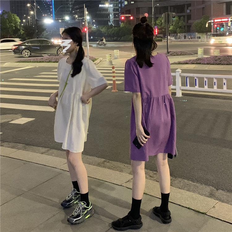 NizonDays法式复古棉麻连衣裙方领中长款裙子夏季泡泡袖中长裙女