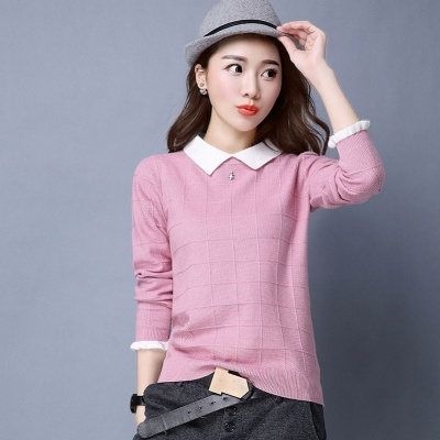 Womens Pullover Sweater baby collar loose short bottomed top versatile Lapel spring and autumn sweater women