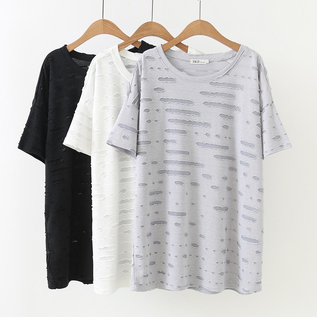 200斤T恤超大码女装夏胖妞妹妹百搭宽松时尚遮肚子肥婆衫短袖上衣
