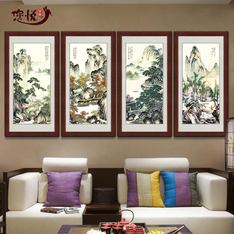 框畫國畫餐廳掛畫臥室壁畫客廳裝飾畫水墨畫新中式畫唐伯虎山水畫