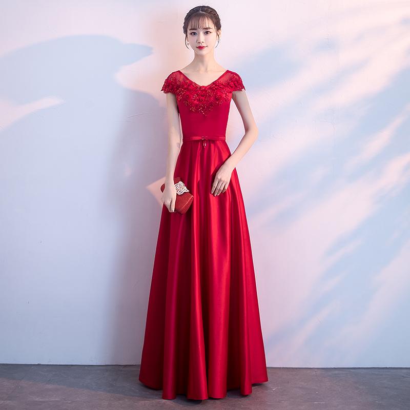 新娘敬酒服2018夏季新款订婚结婚婚宴晚礼服红色进酒服显瘦短款女