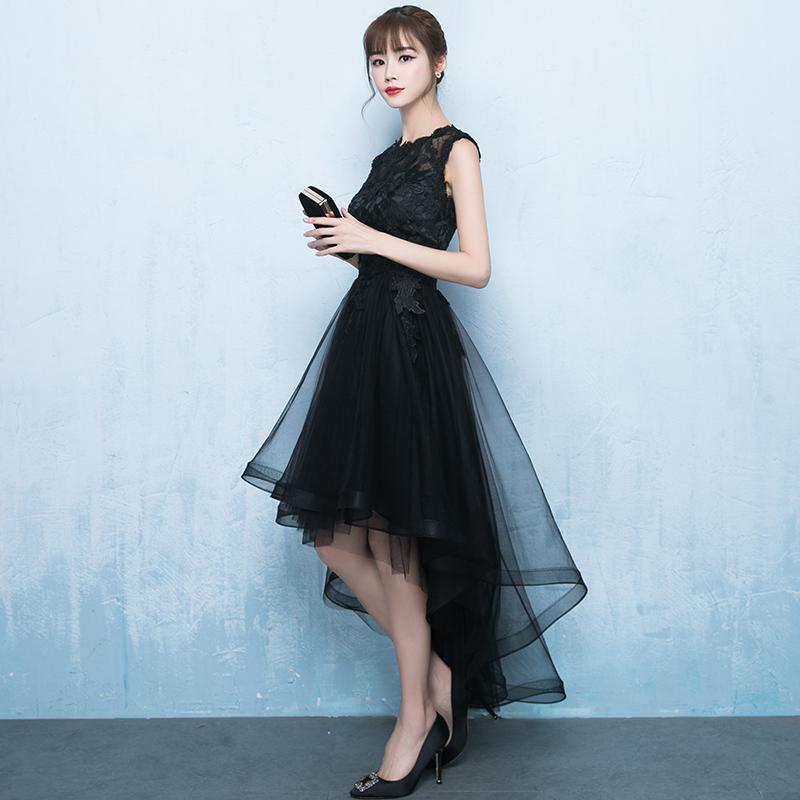 黑色晚礼服女2018新款宴会聚会派对洋装小礼服裙名媛短款显瘦修身