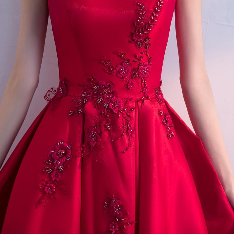 红色敬酒服新娘2018新款夏季优雅结婚晚礼服裙中长款短袖小礼服女