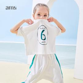 【活动】amii童装女童两件套装短袖2020夏季新款儿童洋气休闲宽松图片