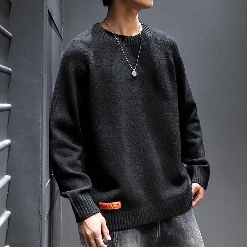 冬季毛衣男圆领宽松日系潮牌加肥加大黑色针织衫打底大码胖子毛衣