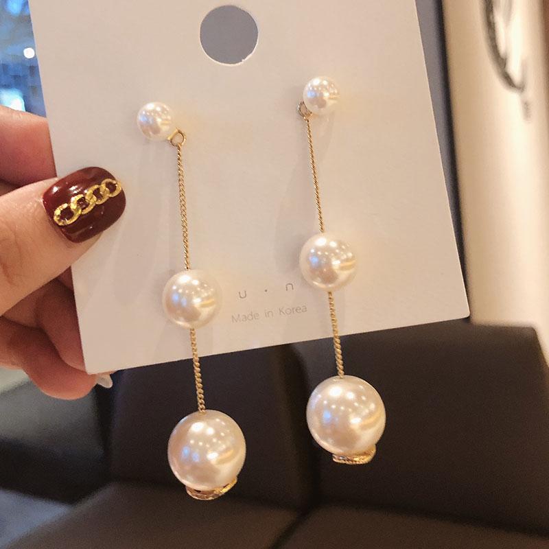 珍珠耳環女氣質長款流蘇吊墜韓國2019新款耳墜網紅同款高級感耳釘