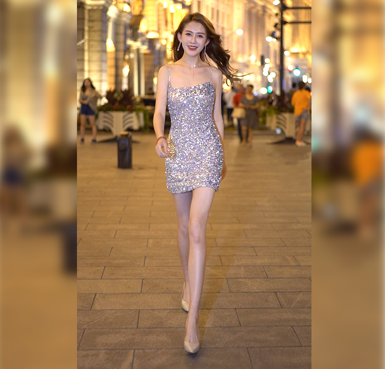 Xiaoxin Street Photo 2019 high end gift box sexy off shoulder Sequin skirt womens BLING suspender dress