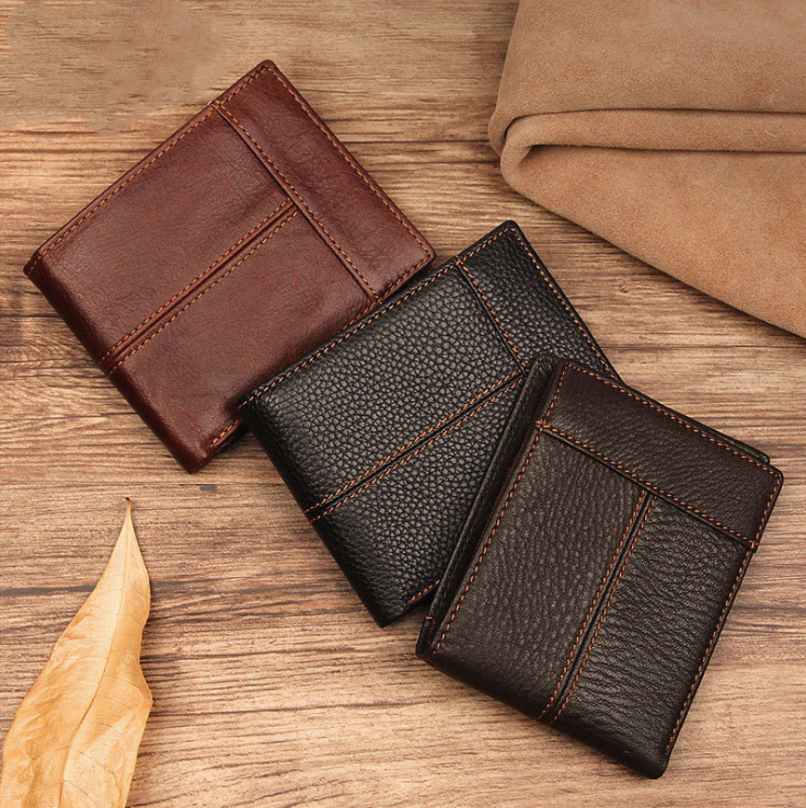 Handmade Leather Mens wallet with leather top layer, thin short wallet, antique oil wax leather stitching wallet, multi card slot
