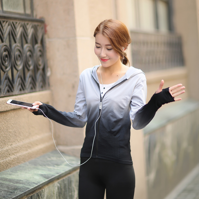 Womens running fitness clothes yoga clothes quick drying long sleeve autumn and winter sports leisure zipper hooded sports coat