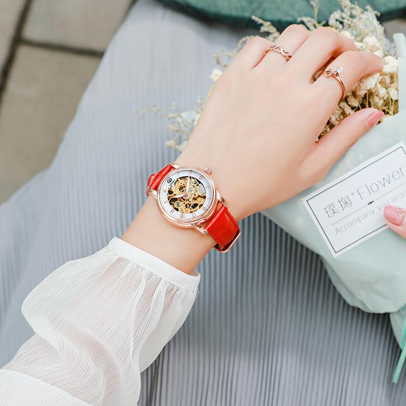 GEMAX格玛仕品牌正品女生手表腕表气质款全镂空防水全自动机械表