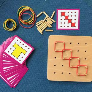 【网红推荐】蒙氏橡皮筋钉板儿童益智早教数学玩具蒙特梭利教具