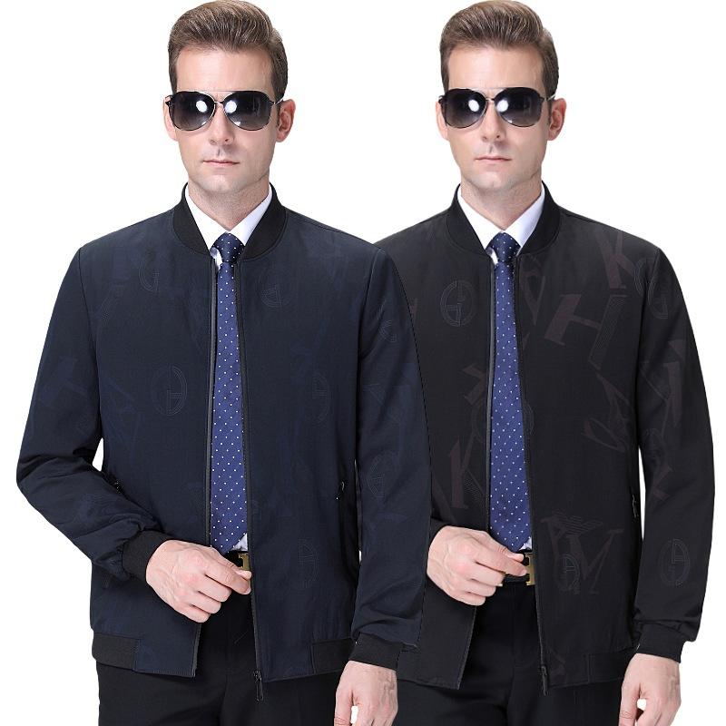 高档秋装男士夹克外套品牌男装男式商务休闲翻领新款夹克衫
