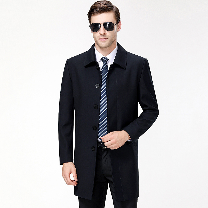 Fashion mens wool jacket autumn and winter 2020 middle aged mens casual medium and long dads warm jacket