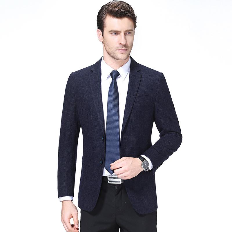 秋冬男士西服时尚商务羊毛单西装精品格子外套一件代发特宽型中年