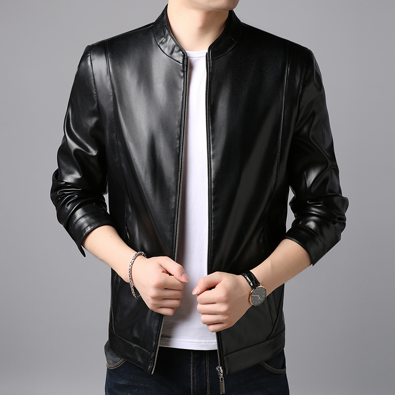 Leather Mens wear first layer leather mens top fall 2019 new motorcycle coat thin Burley Lang jacket