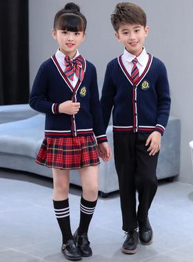 儿童班服小学生校服英伦风男女童针织开衫套装春秋新款幼儿园园服