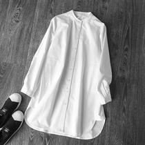 欧美春秋立领显瘦中长款纯棉白衬衣女装长袖宽松休闲衬衫上衣大码