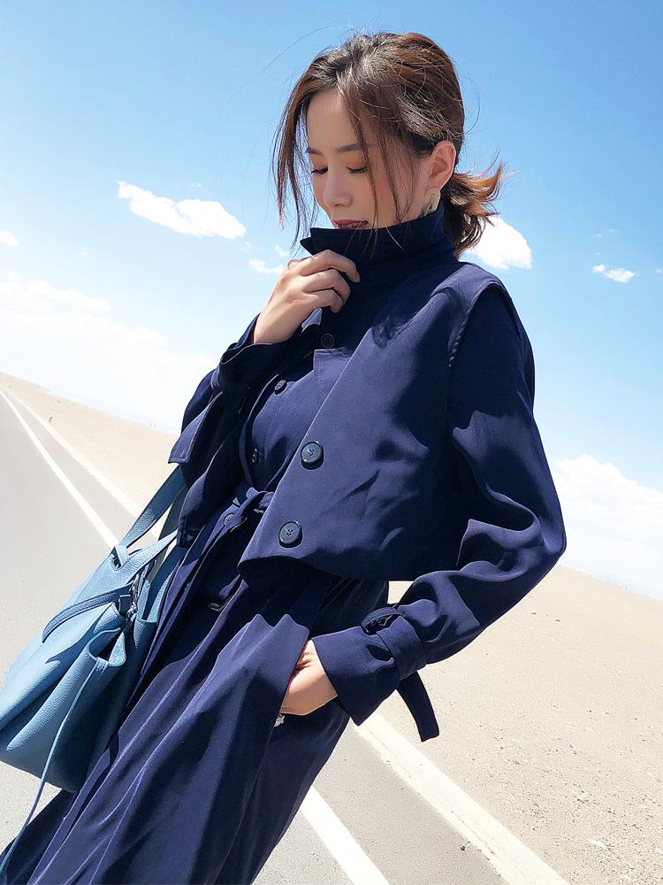 风衣女中长款chic外套韩版秋季马甲套装2018新款女冬两件套