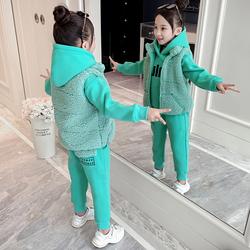 女童冬装三件套加绒2020新款洋气儿童套装韩版运动卫衣加厚马甲潮