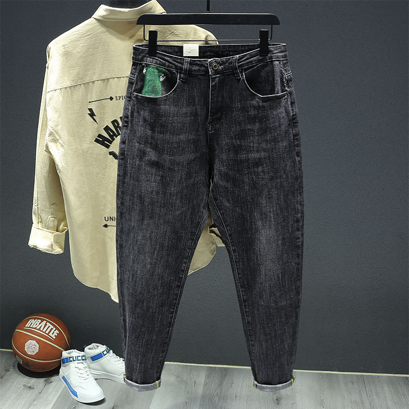 Mens trousers spring and summer mens trousers large embroidery black grey harem jeans mens loose casual casual small leg pants