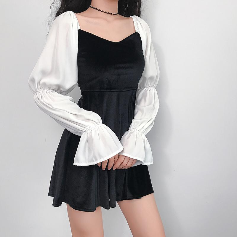 Amyway欧美通勤方领连衣裙收腰显瘦短裙丝绒复古高腰气质公主裙女